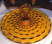"""Fostoria American Amber Glass 12"""" Serving Tray With Center Handle"""