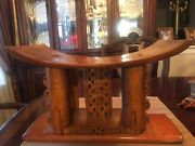 Antique Ashanti Stool Hand Carved Wooden Intricate Woodwork Rare