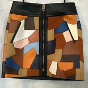 Coach Skirt Multicolored Patchwork Leather Miniskirt Size 0 Nwt 1595