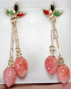Exquisite Sapphire Ruby Emerald Red Coral Strawberry 10k Leverback Earrings
