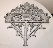 Large Antique 1890and039s Architectural Salvage Cast Iron Cherub Wall Relief Plaque