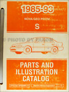 1993 Geo Prizm Master Parts Book Illustrated Chevy Catalog Wtih Part Numbers