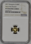 2017 Mongolia Year Of The Rooster Gold Coin Ngc Pf 70 G1000t Pop 13