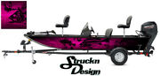 Graphic Abstract Fishing Bass Boat Wrap Black Decal Fish Skeletons Pink Vinyl