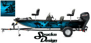 Graphic Abstract Fishing Bass Boat Black Decal Cyan Vinyl Wrap Fish Skeletons