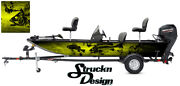Graphic Abstract Fishing Skeletons Bass Boat Black Yellow Vinyl Decal Wrap Fish