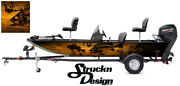 Graphic Abstract Fishing Skeletons Fish Bass Boat Black Orange Vinyl Decal Wrap
