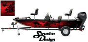 Graphic Abstract Fishing Skeletons Fish Bass Boat Black Decal Wrap Red Usa Vinyl