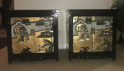 Pair Of Antique Chines Hand Painted Gold Flake Cabinet Birds Of Paradise Poeple