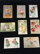 Antique Valentine Day Postcards Lot Of 8 See Photos For Detail Of Condition
