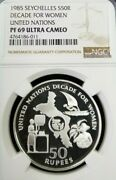 1985 Seychelles S50r Decade For Women Ngc Pf 69 Ultra Cameo Mintage 500 Scarce