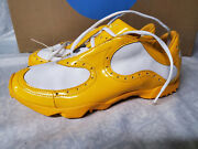 Rare Mens Yellow Golf Shoes Size 7 With Unique Spikes 181905 02