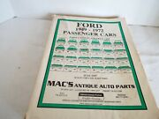 Vintage Mac's Antique Auto Parts Catalog And Price List For 1949-1972 Ford Cars