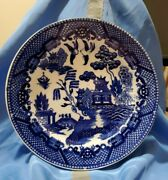 Antique Blue Willow Hors Dand039oeuvre Dish 6 1/8 Marked Japan Black Ink