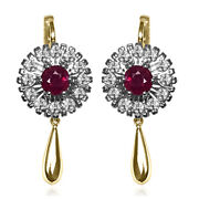 14k Solid Yellow And White Gold Genuine Ruby And Diamond Russian Style Earrings
