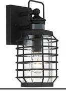 """Anapos 12 1/2""""h Motion Sensor Caged Outdoor Wall Light Discontinued Vintage Blk"""