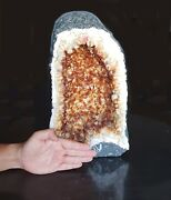 27.7lb Natural Citrine Yellow Calcite Quartz Crystal Geode Cathedral Amethyst
