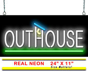 Outhouse Neon Sign | Jantec | 24 X 11 | Bathroom Restroom Rustic Campground