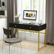 Modern Computer Desk With Drawers White Gold Study Makeup Vanity Console Table