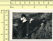 047 1960and039s Man With Bb Gun Air Rifle Guys Pose Pointing Abstract Vintage Photo