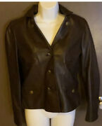 New Anne Ann Klein Leather Brown Blazer Jacket Xs Small Snaps Buckles 149 Look
