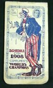 Very Rare 1908 World Series Winners Chicago Cubs Authentic Baseball Schedule