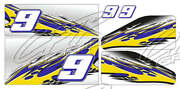 Racing Kart Qrc Outlaw Dirt Wrap Numbers - Blue / Yellow
