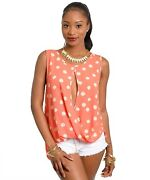 Mulata Womenandrsquos Top Floral Split Front Shirttail Back Sleeveless Peach Size Sml