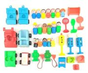 Vintage Lot Fisher Price Little People Family Cars Stop Signs Prarie Vtg 70s 80s