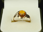 Amber Solitaire Ring 9ct Gold Ladies Stunning Size Q 1/2 375 2.4g Fe84
