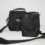 Lowepro Lot Of 2 Black Camera And Accessories Bags Large And Small