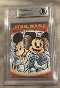 2005 Star Wars Revenge Of The Sith Mickey Mouse Minnie Mouse Sketch Card 1/1 Bas