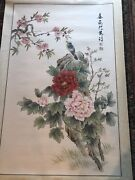 Antique Fantastic Chinese Hand Painted Watercolor Scroll Flowers And Bird Signed