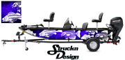 Crappie Fishing Bass Fish Boat Wrap Blue Black Decal Graphic Us Vinyl Skeletons