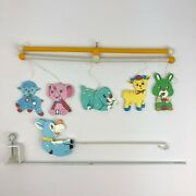 Vintage Handmade And Painted Childrenand039s Hanging Colorful Animals Wood Crib Toy