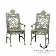 Antique Cast Iron Pair Of Garden Cemetary Armchairs Fred Gensel And Co.