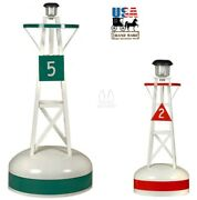 Decorative Lawn Buoy - 2 Sizes Green Red Fiberglass And Vinyl With Solar Light Usa