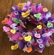 Valentines Day Deco Mesh 19 Inch Purple Pink Wreath Free Shipping