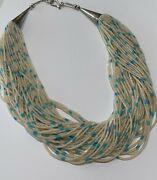 Santo Domingo 50 Stand Shell And Turquoise Heishi Necklace