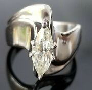 .90ct Elongated Marquise Diamond Solitaire Wide Fashion 14k White Gold Ring/band