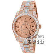 18k Rose Gold Plated Stainless Steel Simulated Diamonds Mens Watch 42mm W/date