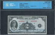 Canada Bank Of Canada 2 1935 Bc-3 Cccs 63 Choice Uncirculated.
