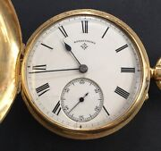 Antiques 18 Ct Solid Gold Full Hunter Pocket Watch By Rotherhams Working Order