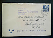 1940s Goteborg Sweden To Washington Dc Ms Gripsholm Swedish American Line Cover
