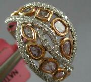 Estate Wide 1.26ct White And Pink Diamond 18k White And Rose Gold Infinity Love Ring