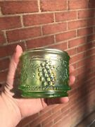Scarce Ice Green Carnival Glass  Grape And Cable Northwood Powder Jar