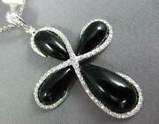 Large .28ct Diamond And Aaa Black Onyx 14kt White Gold 3d Infinity Cross Pendant