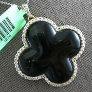 Extra Large .90ct Diamond And Aaa Onyx 18kt Yellow Gold 4 Leaf Clover Love Pendant