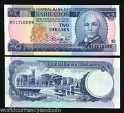 Barbados 2 Dollars P36 1986 Frigate Ship Currency Money Unc Caribbean Bank Note