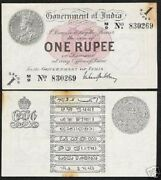 India 1 Rupee P-1 G 1917 King George V First Note Unc Tone Rare Bill Paper Money